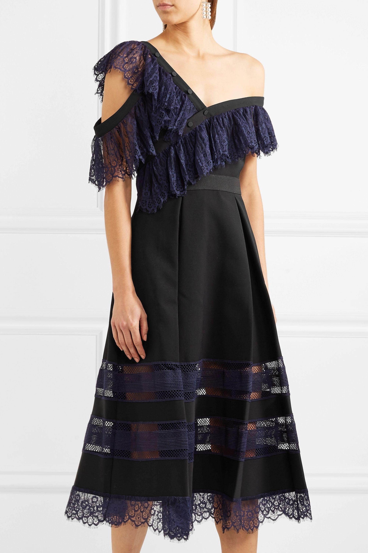 Self-Portrait One-shoulder guipure lace and crepe midi dress