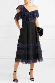 Off-the-shoulder guipure lace and crepe midi dress
