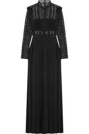 Guipure lace and crepe maxi dress