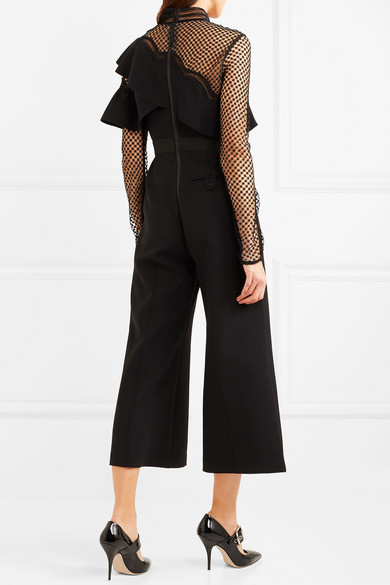 312e537e7642 Cropped ruffled guipure lace and crepe jumpsuit.  180. Play