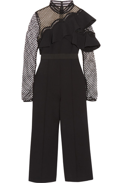 b24176042bbd SELF-PORTRAIT CROPPED RUFFLED GUIPURE LACE AND CREPE JUMPSUIT