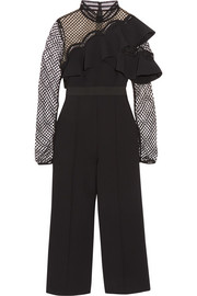 Self-Portrait Cropped ruffled guipure lace and crepe jumpsuit