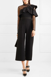 Cropped ruffled guipure lace and crepe jumpsuit