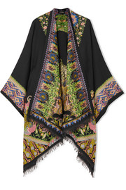 Embroidered wool-blend wrap