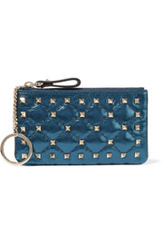 Valentino The Rockstud Spike quilted metallic leather pouch
