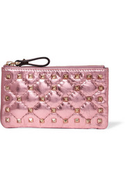 Valentino Garavani The Rockstud Spike metallic quilted leather pouch