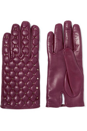 Valentino Rockstud quilted leather gloves