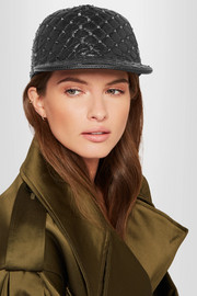 Rockstud quilted glossed textured-leather cap