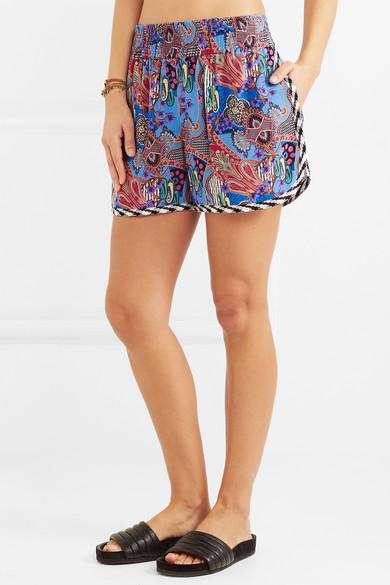 Etro Shorts aus bedrucktem Crêpe de Chine aus Seide