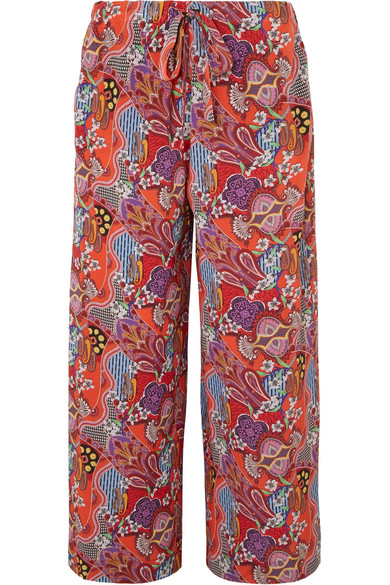 Etro - Printed Silk Crepe De Chine Pants - Red
