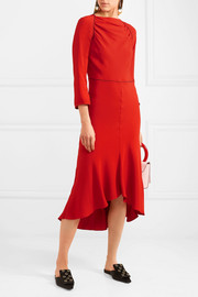 Grosgrain-trimmed crepe midi dress