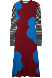 Printed ribbed wool midi dress