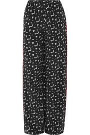 Gothica printed silk crepe de chine wide-leg pants