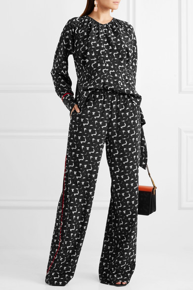 Marni Gothica Printed Pants With Wide Leg From Crêpe De Chine Silk From