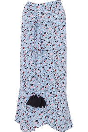 Marni Gathered printed silk crepe de chine skirt