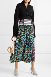 Ribbed knit-trimmed printed silk-blend crepe wrap skirt