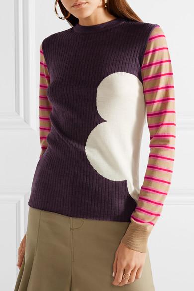 Marni Gerippter Wollpullover mit Intarsienmuster