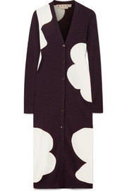 Marni Ribbed intarsia wool cardigan