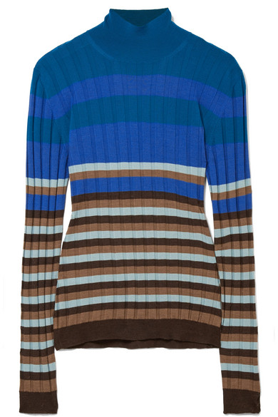Marni - Striped Ribbed Wool Turtleneck Sweater - Blue