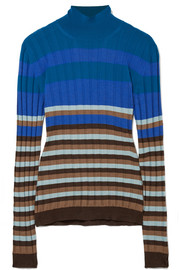 Marni Striped ribbed wool turtleneck sweater