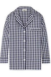 Marina gingham cotton pajama shirt