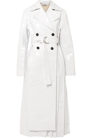 Pleated coated cotton-blend trench coat