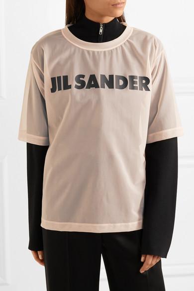 Jil Sander Bedrucktes T-Shirt aus Organza