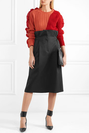 Jil Sander Pleated wool-twill skirt