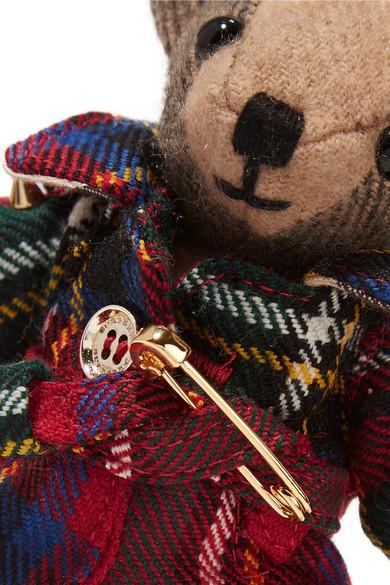 Burberry Verzierter Schlüsselanhänger aus kariertem Kaschmir und Wolle mit Tartanmuster