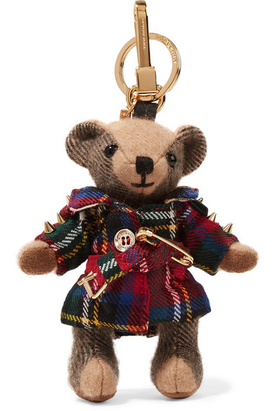 size 40 well known uk availability Embellished checked cashmere and tartan wool keychain