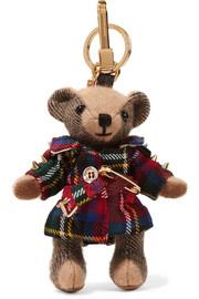 버버리 Burberry Embellished checked cashmere and tartan wool keychain
