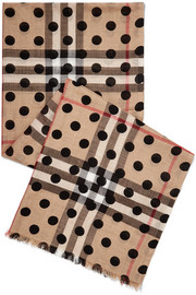 Polka-dot checked wool and silk-blend scarf