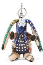 Burberry Studded leather-trimmed patchwork cashmere keychain