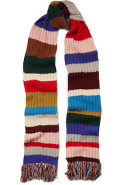 Fringed striped ribbed wool scarf