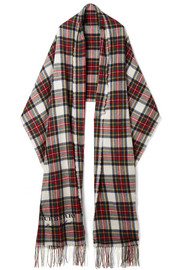 Oversized fringed tartan cashmere and wool-blend scarf