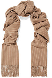 Fringed pinstriped wool scarf