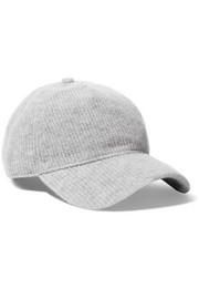 Marilyn leather-trimmed ribbed cashmere baseball cap