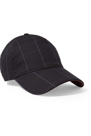 Marilyn leather-trimmed checked cotton-blend baseball cap