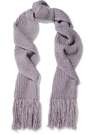 Devin fringed ribbed wool-blend scarf