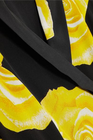 Seide GANNI Seide vorgewaschener aus Wickelkleid aus mit Wickelkleid mit Blumendruck GANNI vorgewaschener GANNI Blumendruck dSn0xTP