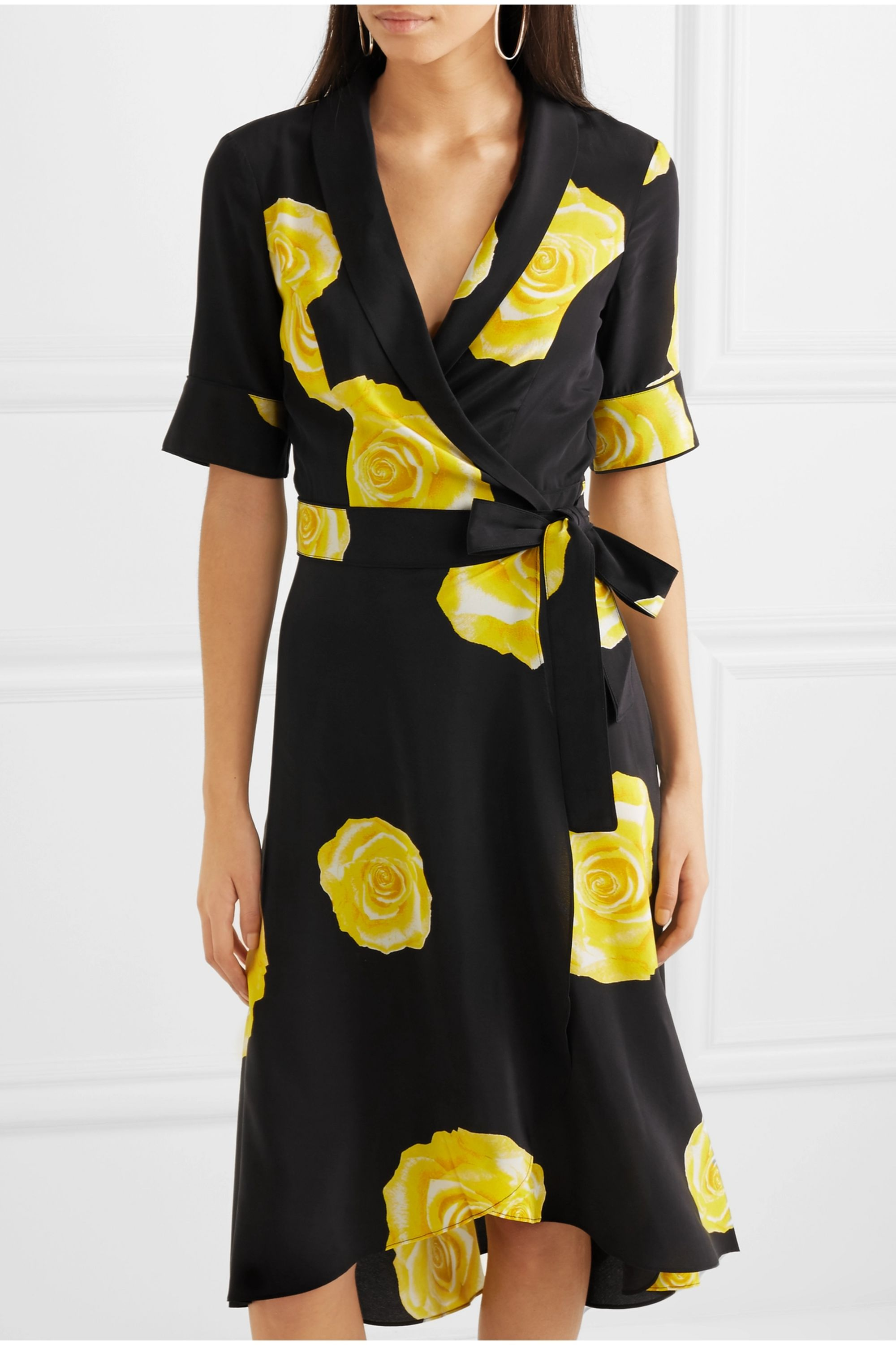 GANNI Floral-print washed-silk wrap dress