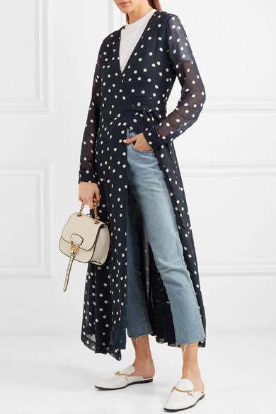 GANNI Wickelkleid aus Chiffon mit Polka-Dots