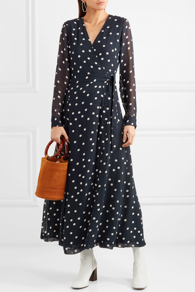 50a778511d GANNI | Polka-dot chiffon wrap dress | NET-A-PORTER.COM