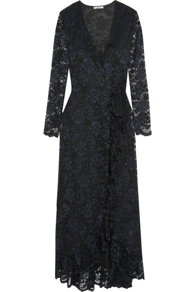 GANNI - Ruffle-trimmed Lace Wrap Maxi Dress - Midnight blue