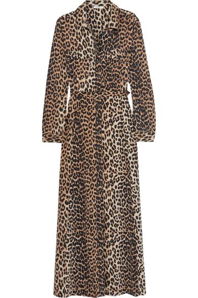 GANNI - Leopard-print Silk Maxi Dress - Leopard print