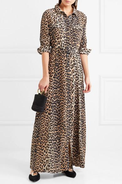Ganni Maxi Dress In Silk With Leopard Print