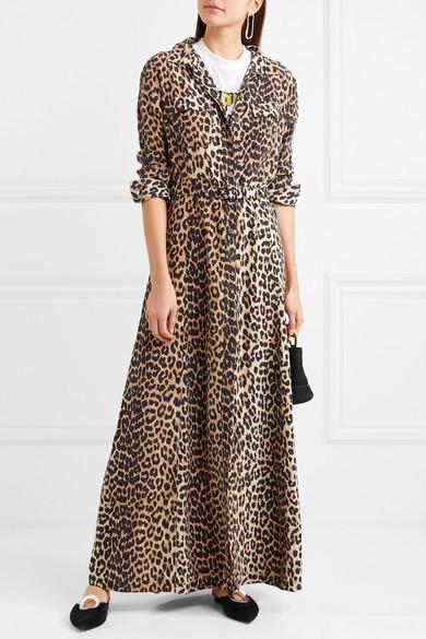 GANNI Maxikleid aus Seide mit Leopardenprint