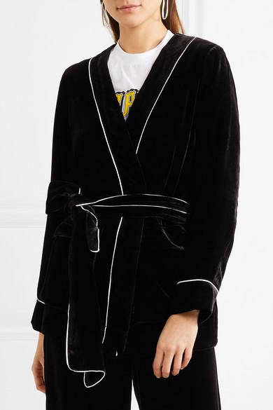 GANNI Jacke aus Samt mit Paspeln