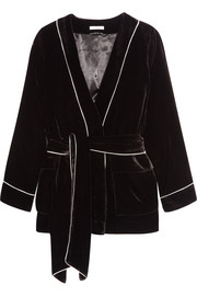 Piped velvet jacket