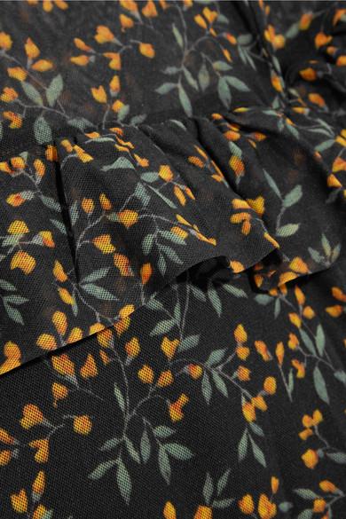 GANNI Tilden Maxikleid aus Mesh mit floralem Print und Rüschen